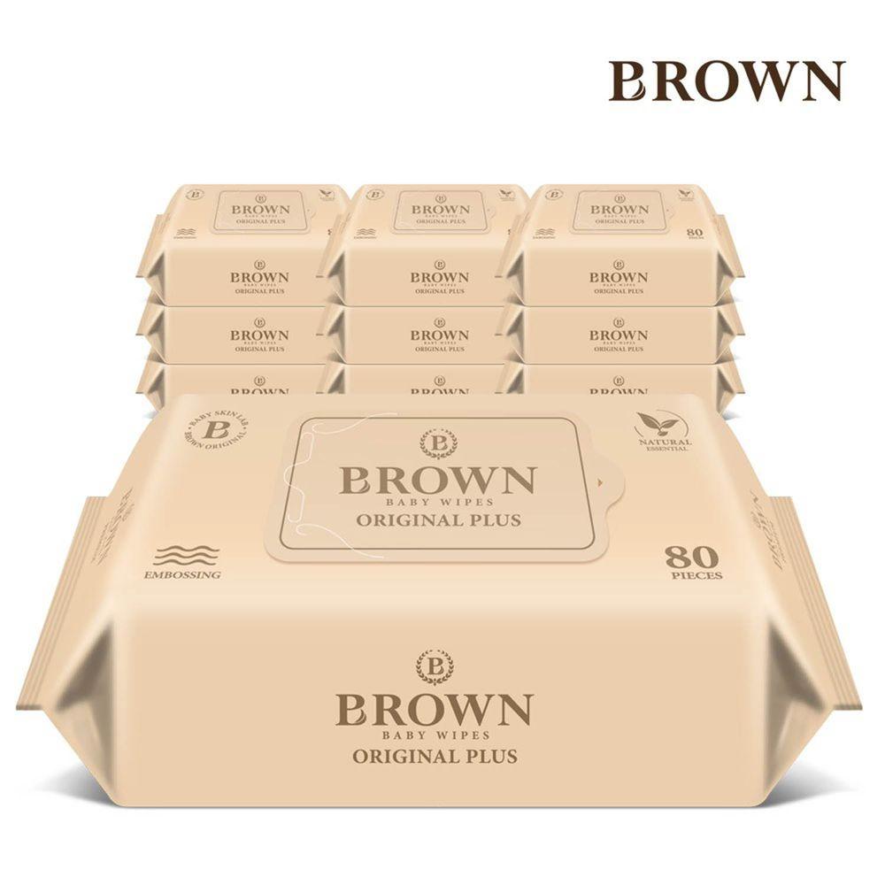 韓國BROWN - ORIGINAL PLUS濕紙巾-洋甘菊80抽(含蓋)*10包