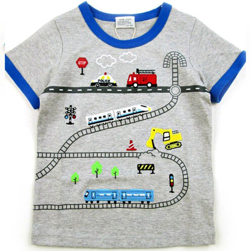 日本服飾代購 - (剩95)純棉刺繡X印花短袖上衣-忙碌交通車-雜灰