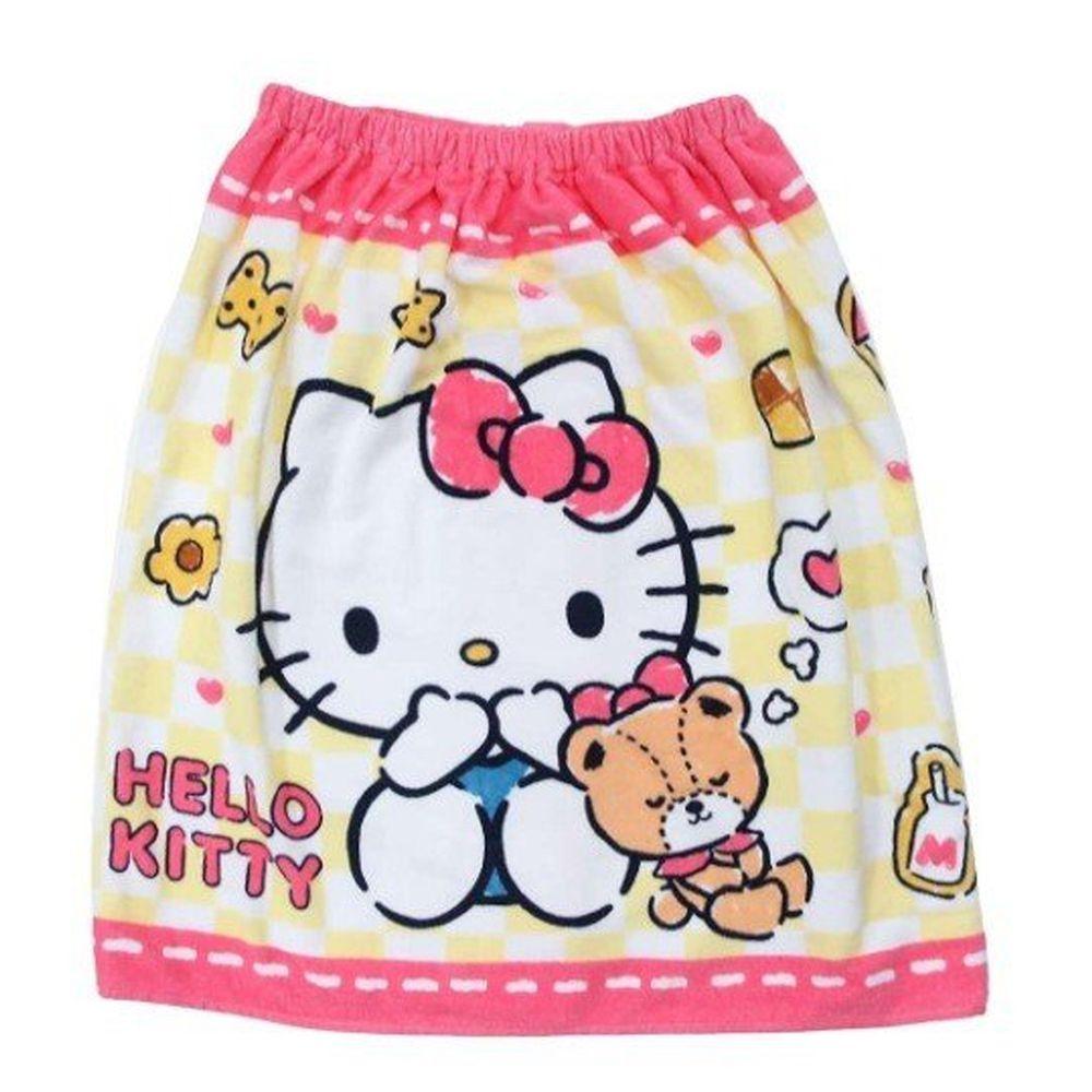 日本服飾代購 - 純棉海灘/游泳浴巾/浴袍 (附釦)-Hello Kitty-桃 (長60cm(幼稚園~國小低年級))