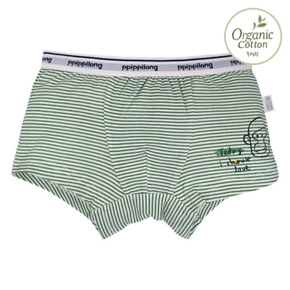 韓國 Ppippilong - 有機棉透氣四角褲(男寶)-綠色大猩猩