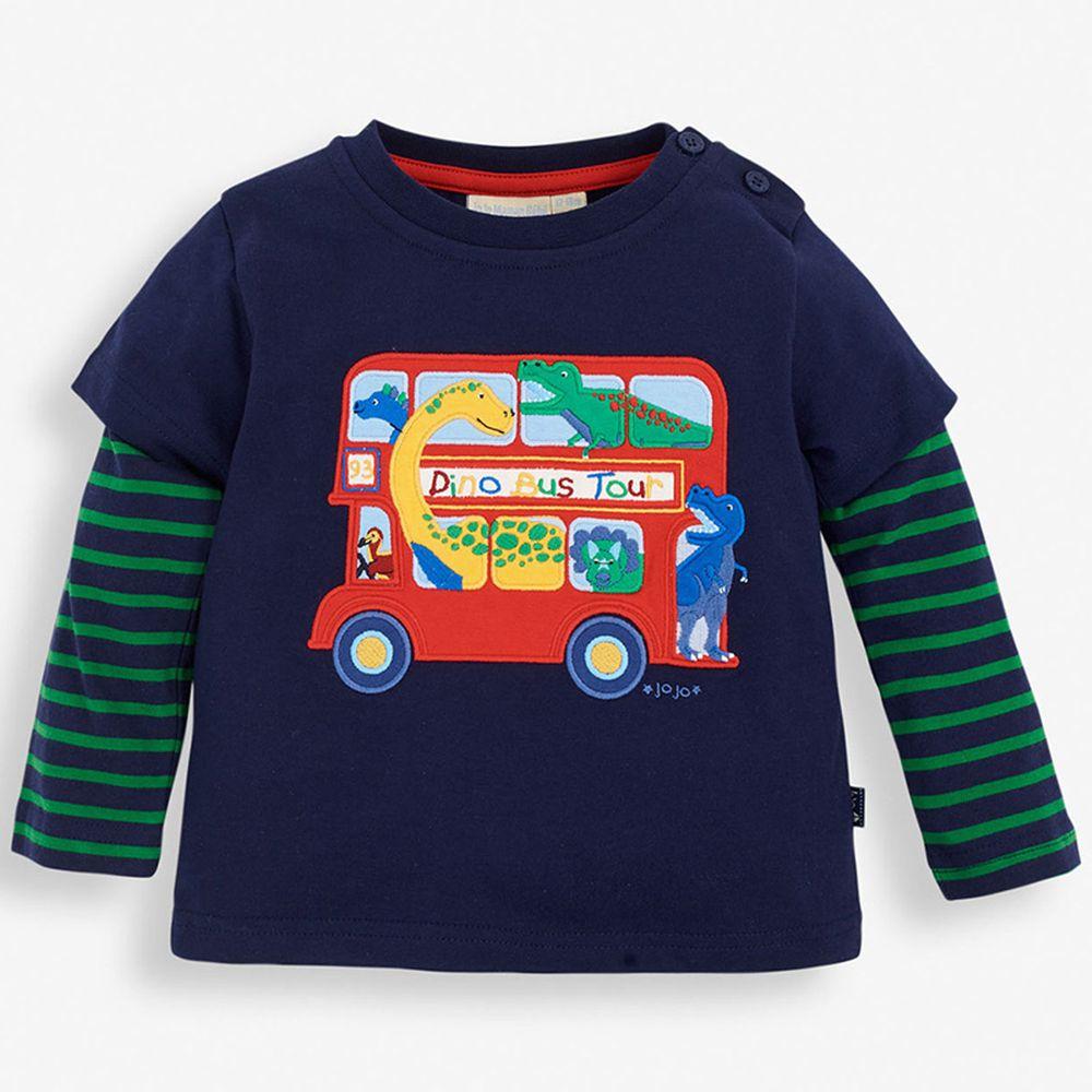 英國 JoJo Maman BeBe - 嬰幼兒100%純棉長袖上衣-恐龍公車