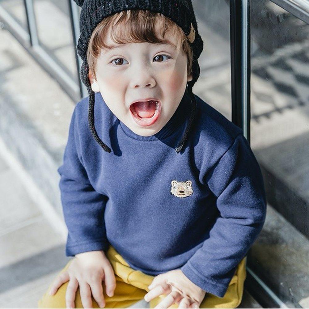 韓國 Bebezoo - 刺繡小動物棉T-深藍