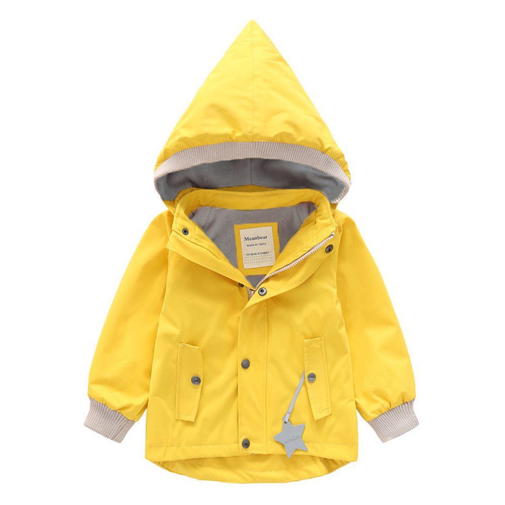 防風防雨加絨衝鋒外套-尖帽-黃色