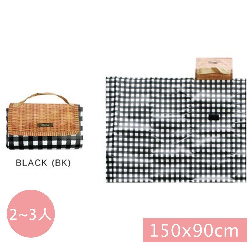 日本現代百貨 - 輕便可收納 防水野餐墊(2-3人)-黑白格子 (150x90cm)