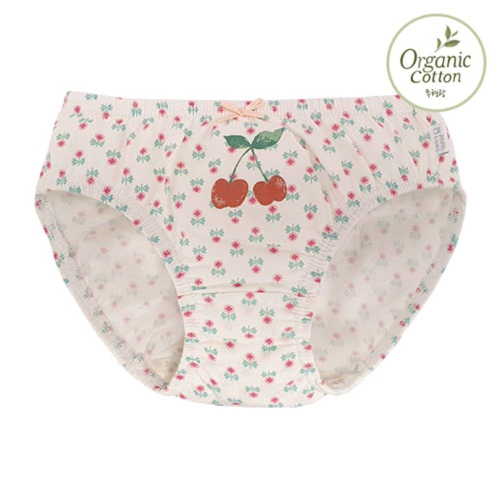 韓國 Ppippilong - 有機棉透氣三角褲(女寶)-紅紅櫻桃