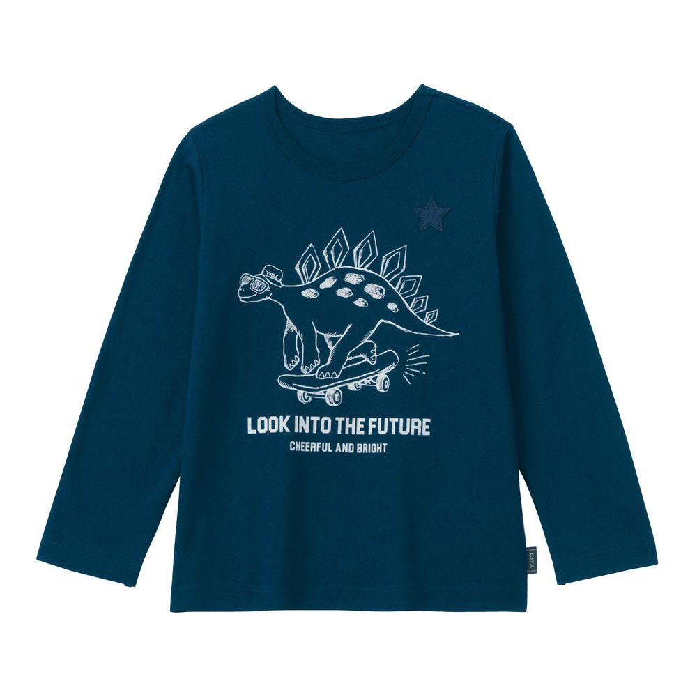 日本千趣會 - GITA 純棉輕薄舒適長T-滑板恐龍-深藍