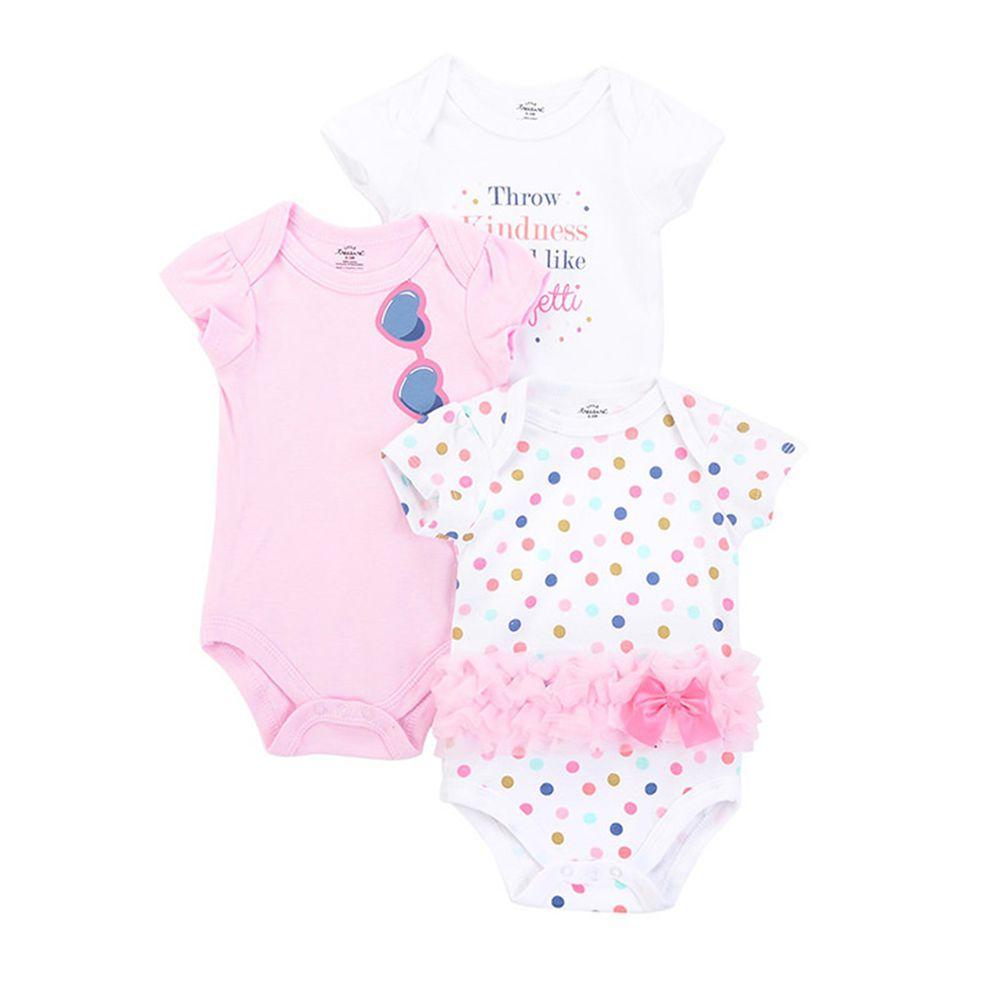 美國 Luvable Friends - 100%純棉嬰幼兒短袖包屁衣3件組-繽紛圓點