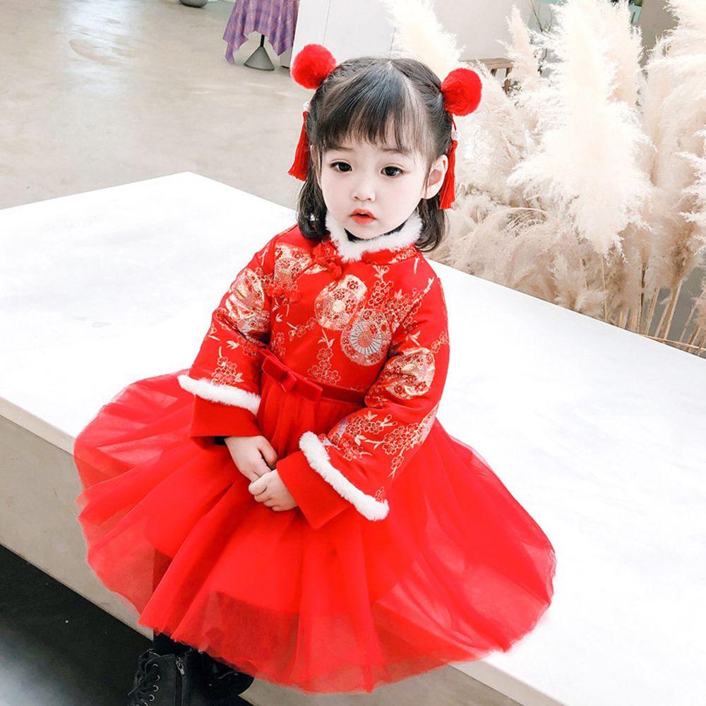 花弄影旗袍紗裙-加絨-紅色