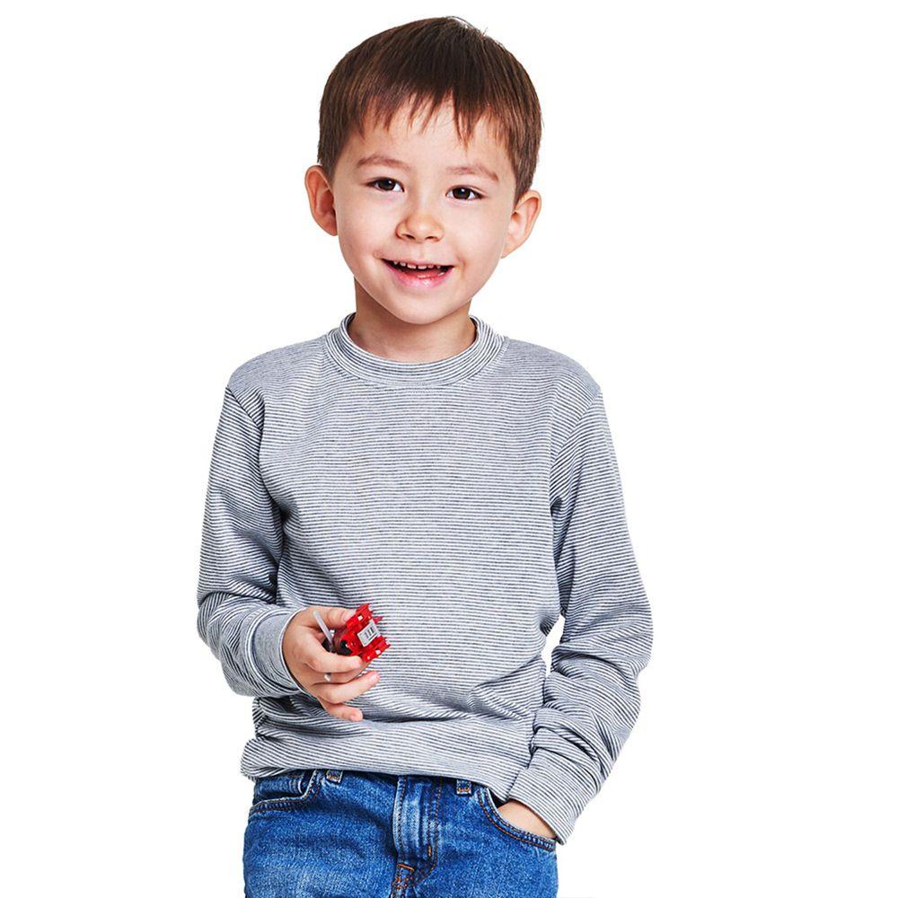 GIAT - 兒童立領條紋輕刷毛保暖衣-中灰/白條紋