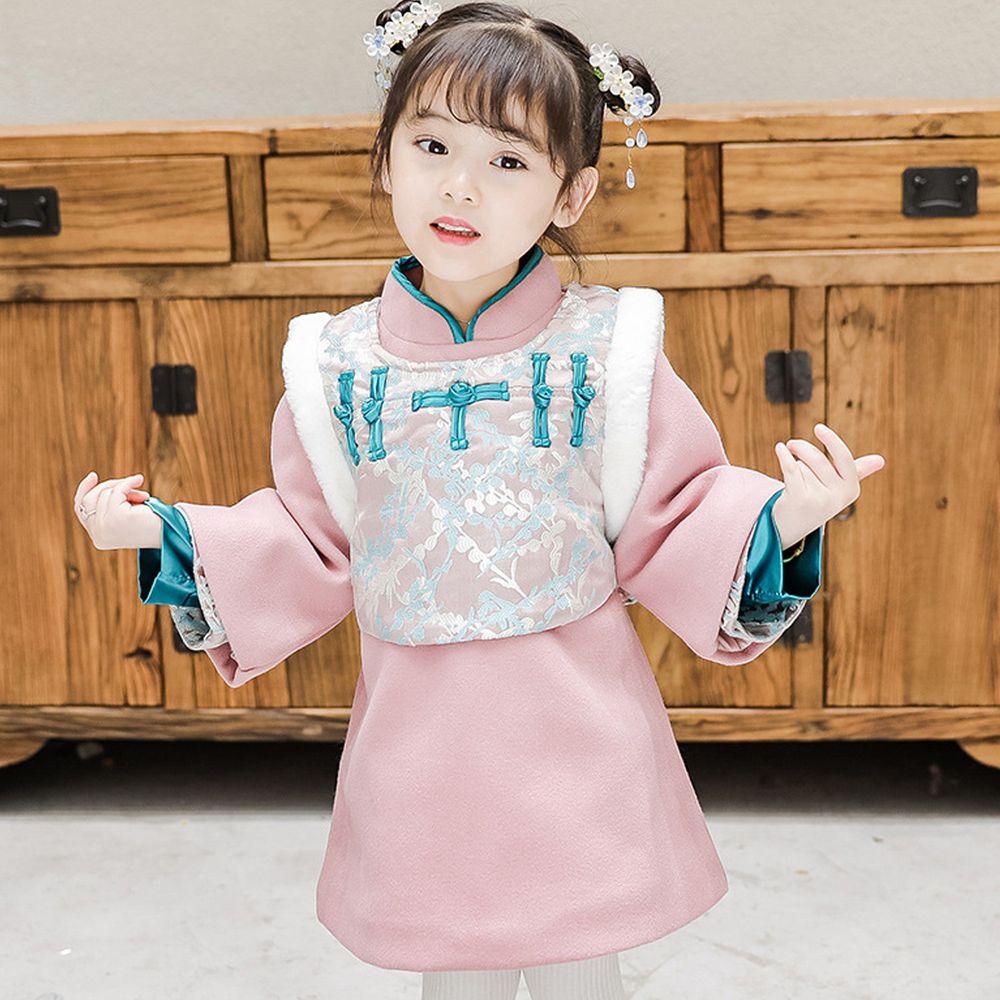 雪絨棉襖旗袍洋裝-加厚款洋裝+背心-藍色