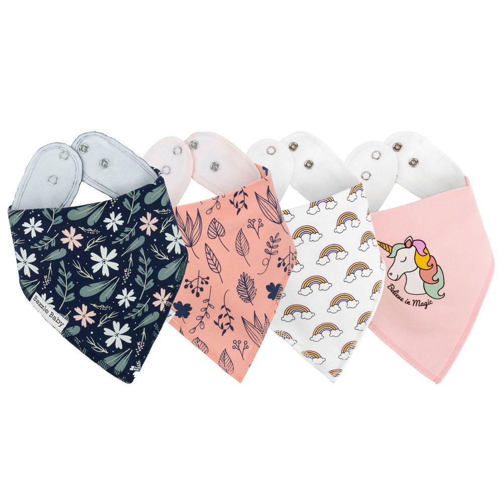 美國 Bazzle baby - 三角口水圍兜4入組-夢幻女孩