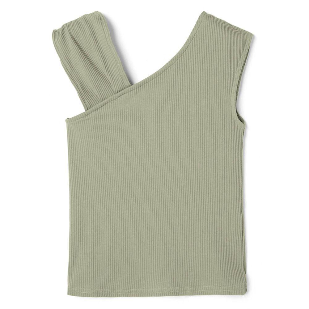 日本 GRL - 不對稱寬版無袖羅紋針織上衣-莫蘭迪綠