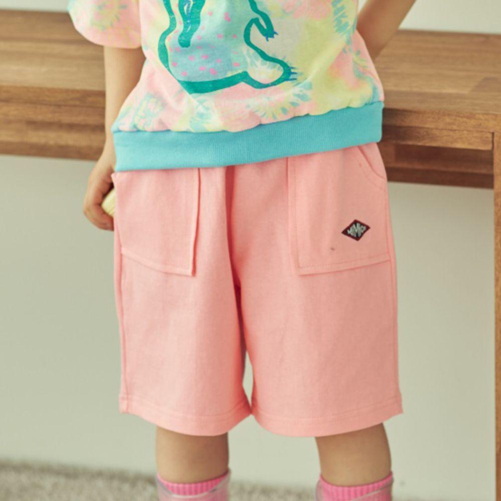 韓國 Mimico - 大口袋舒適純棉寬褲-粉紅