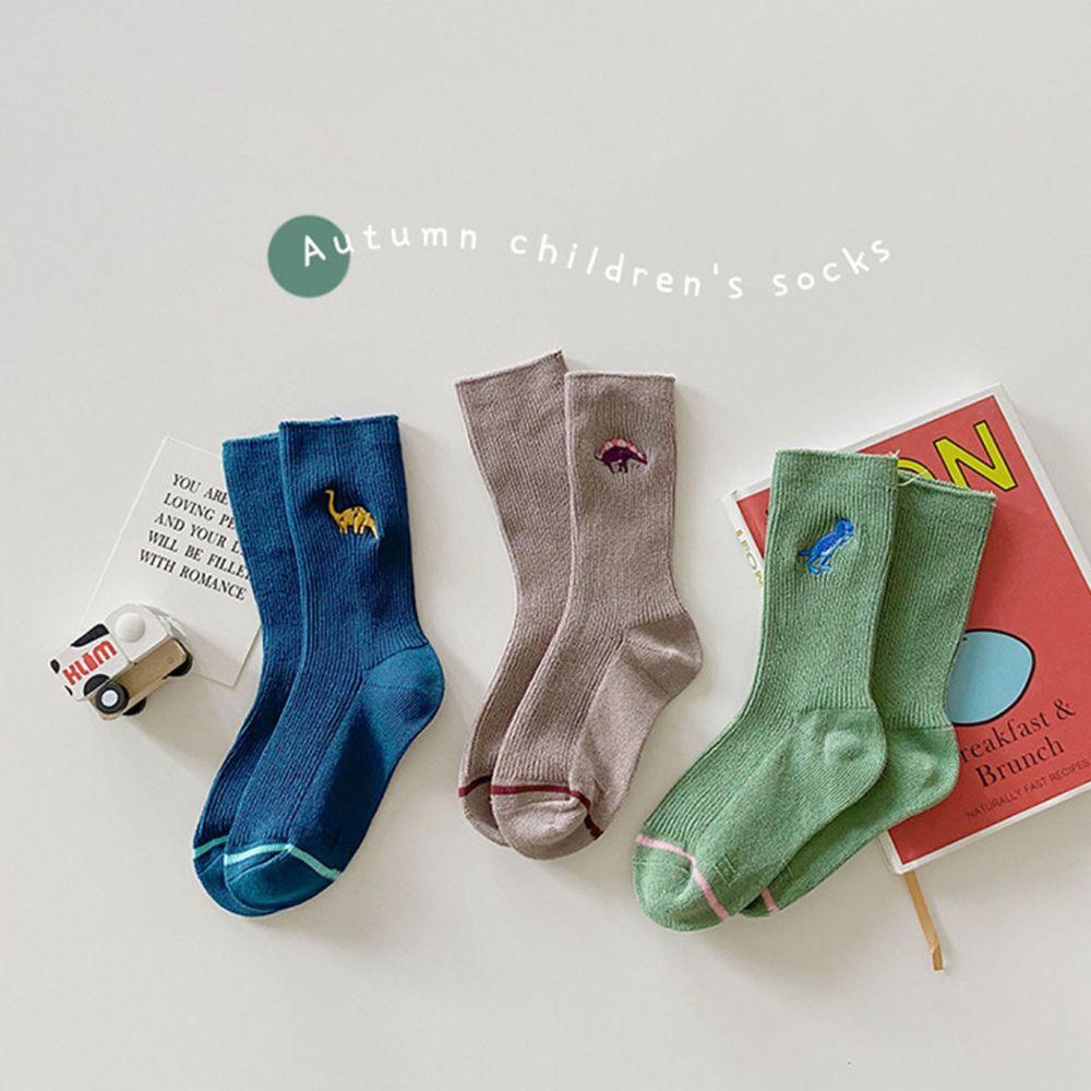 秋季恐龍刺繡中筒襪 (3雙一組)