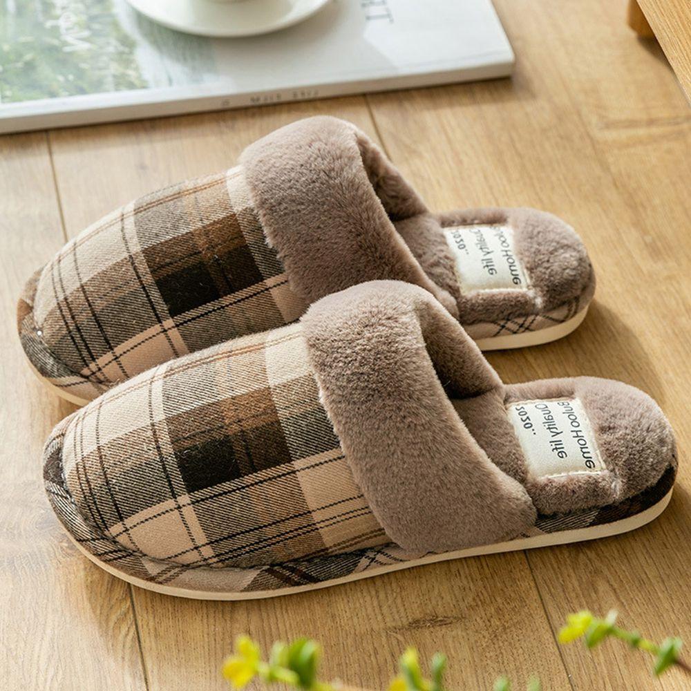 日系格紋防滑保暖棉拖鞋-咖啡