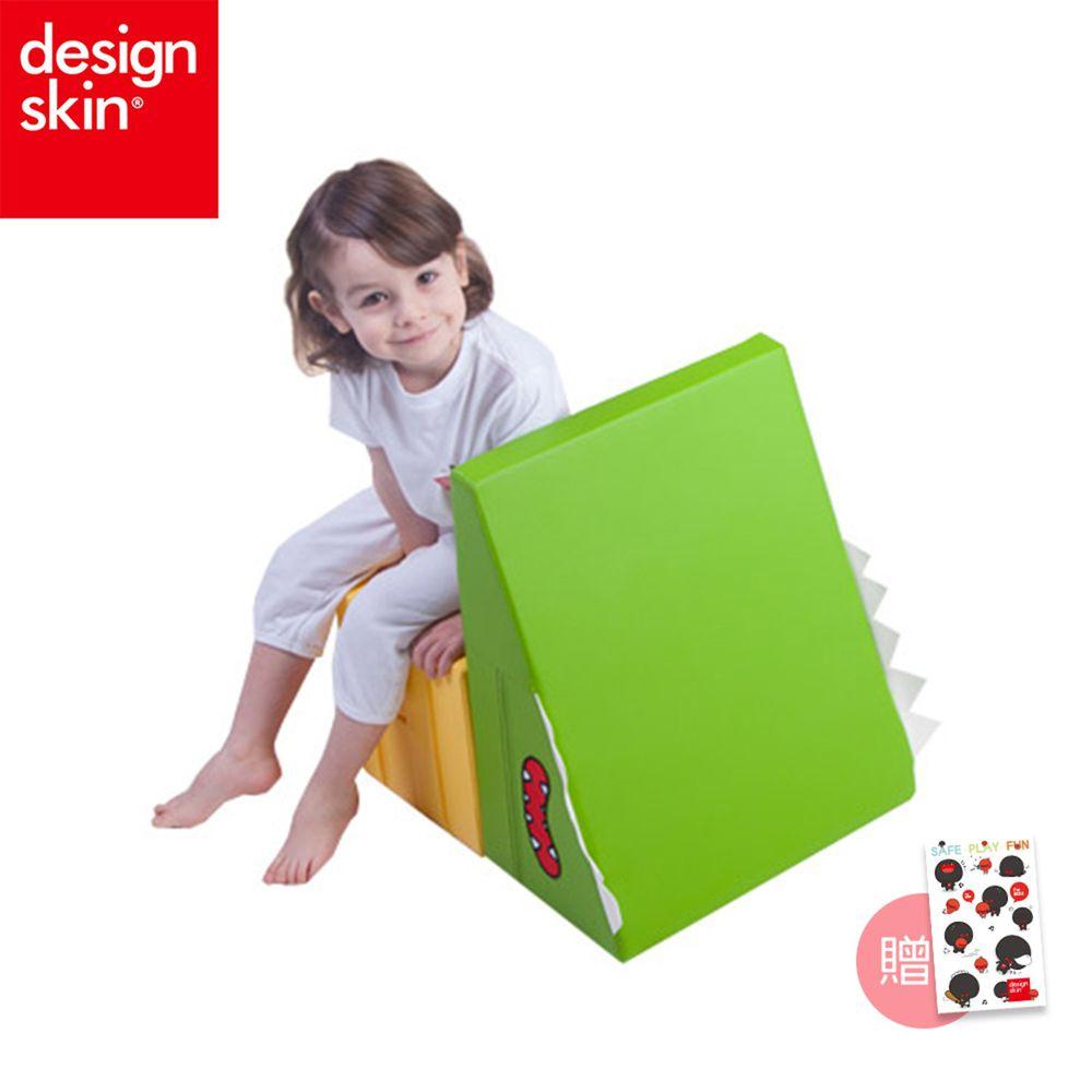 Design Skin - 寶寶多功能溜滑梯/沙發 (贈貼紙)-綠+黃