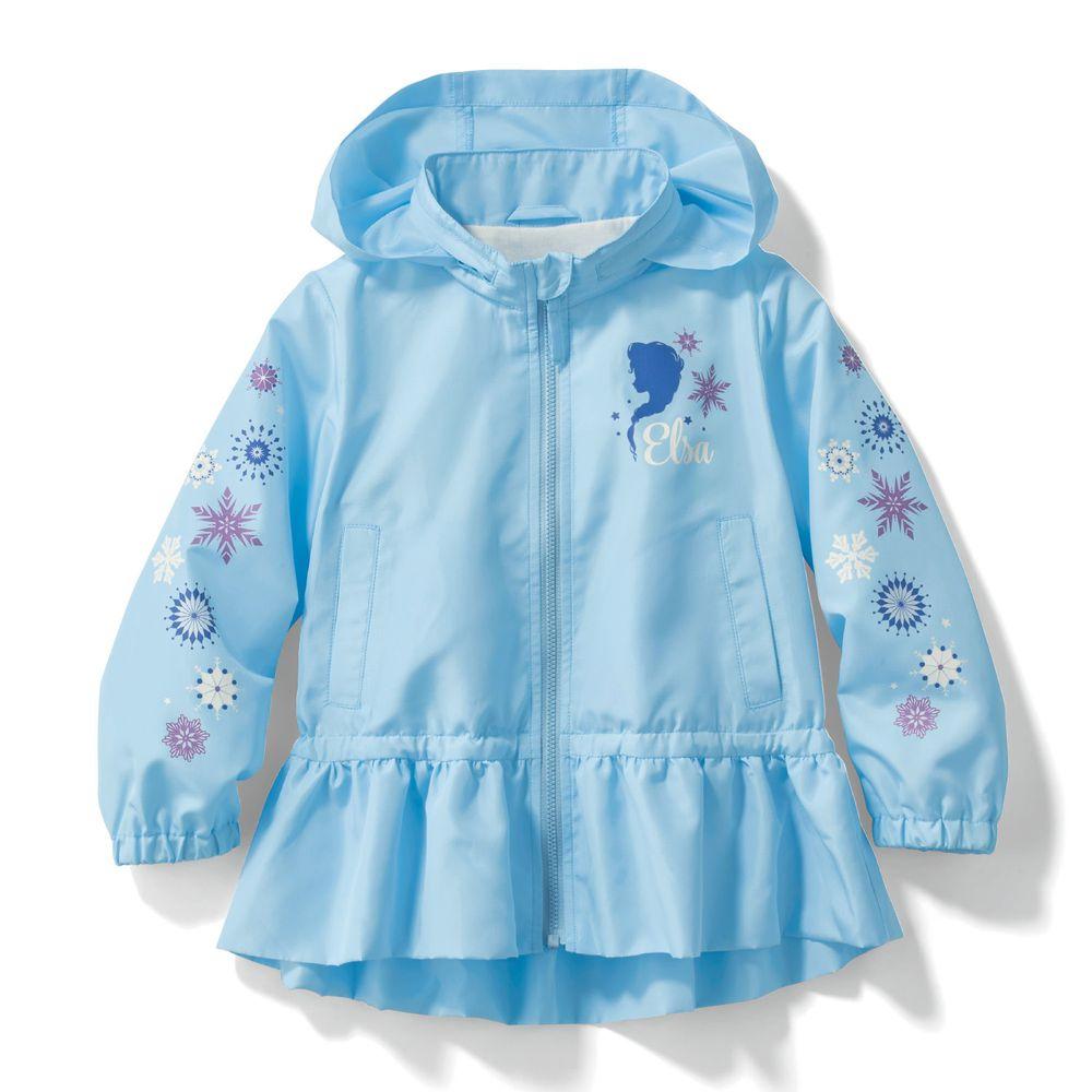 日本千趣會 - 迪士尼公主荷葉衣襬防風連帽外套-艾莎-藍