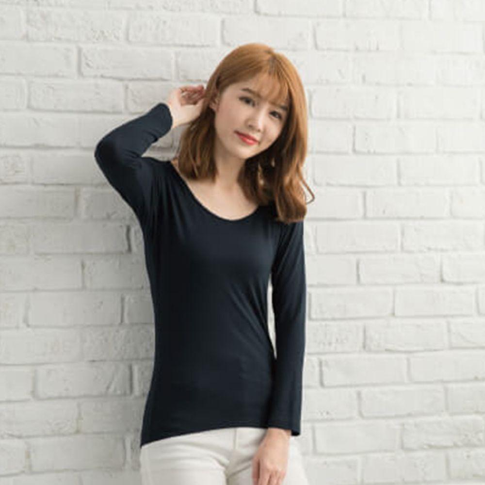 貝柔 Peilou - TENCEL日本吸濕發熱纖維保暖衣-女圓領-丈青