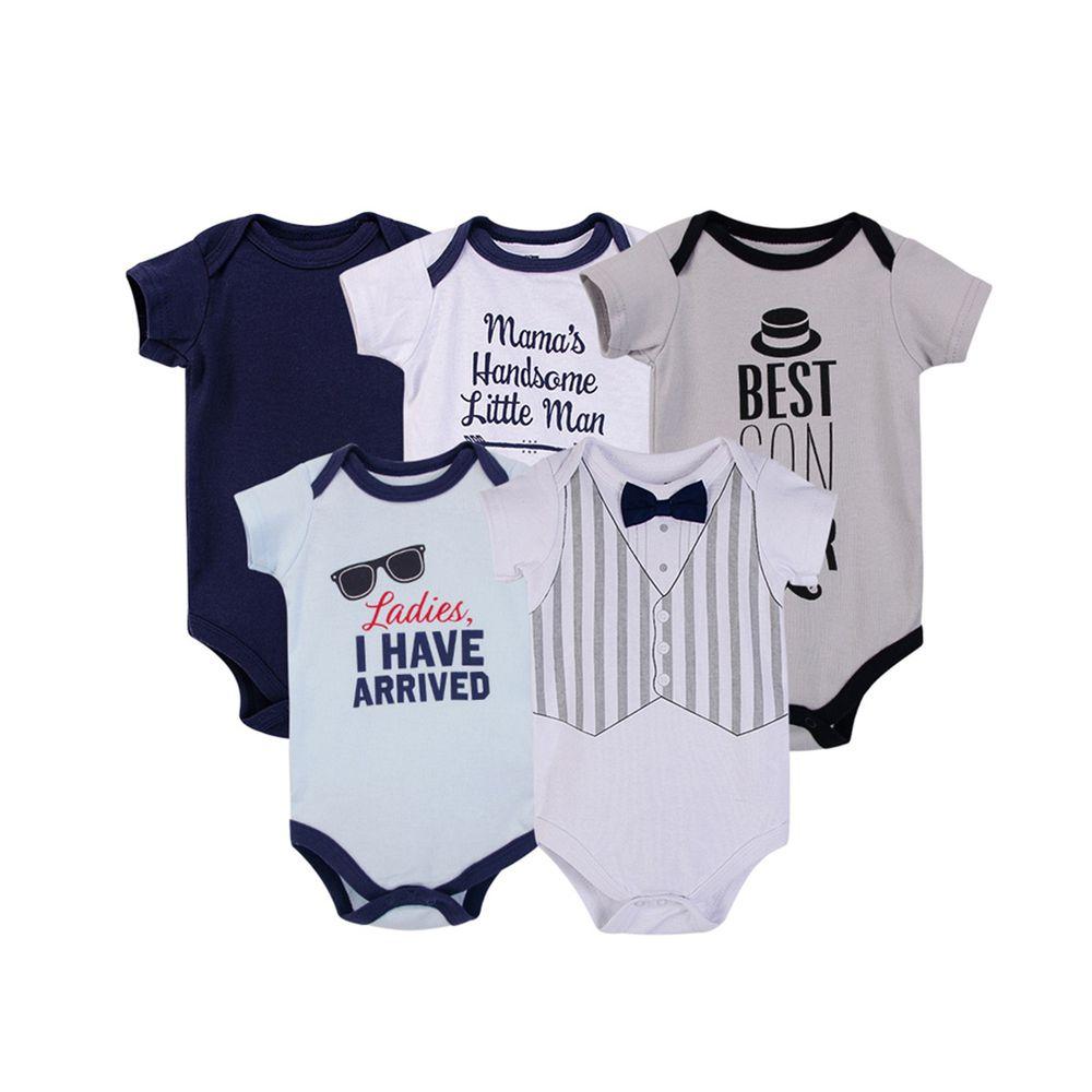 美國 Luvable Friends - 100%純棉嬰幼兒短袖包屁衣5件組-英倫雅痞