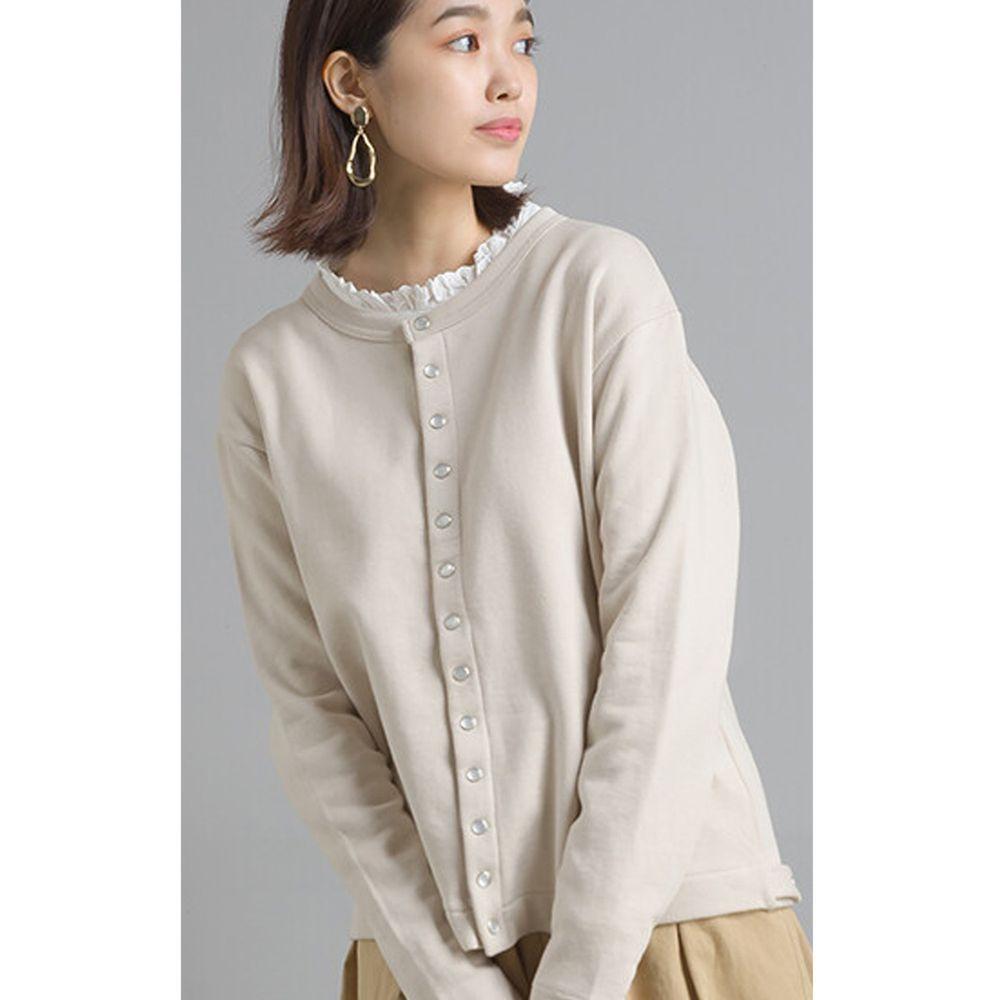 日本女裝代購 - 2way珍珠鈕扣裏毛上衣/外套-象牙白