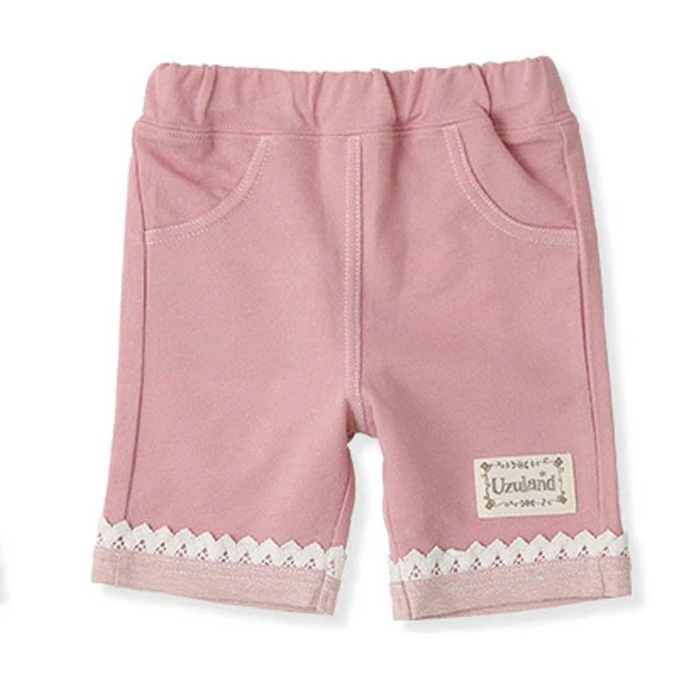 日本 ZOOLAND - 純棉拼接五分褲-蕾絲褲管-粉紅