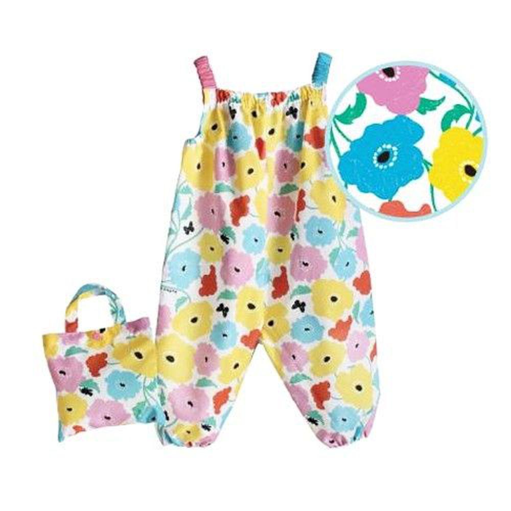 日本 kukka hippo - 小童遊戲服/玩沙衣(附收納袋)-繽紛花園 (90cm)