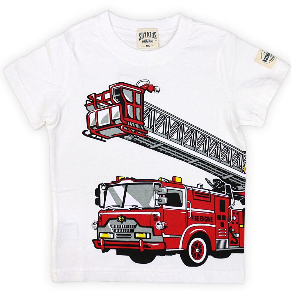日本服飾代購 - 純棉印花短袖上衣-消防車出動-白