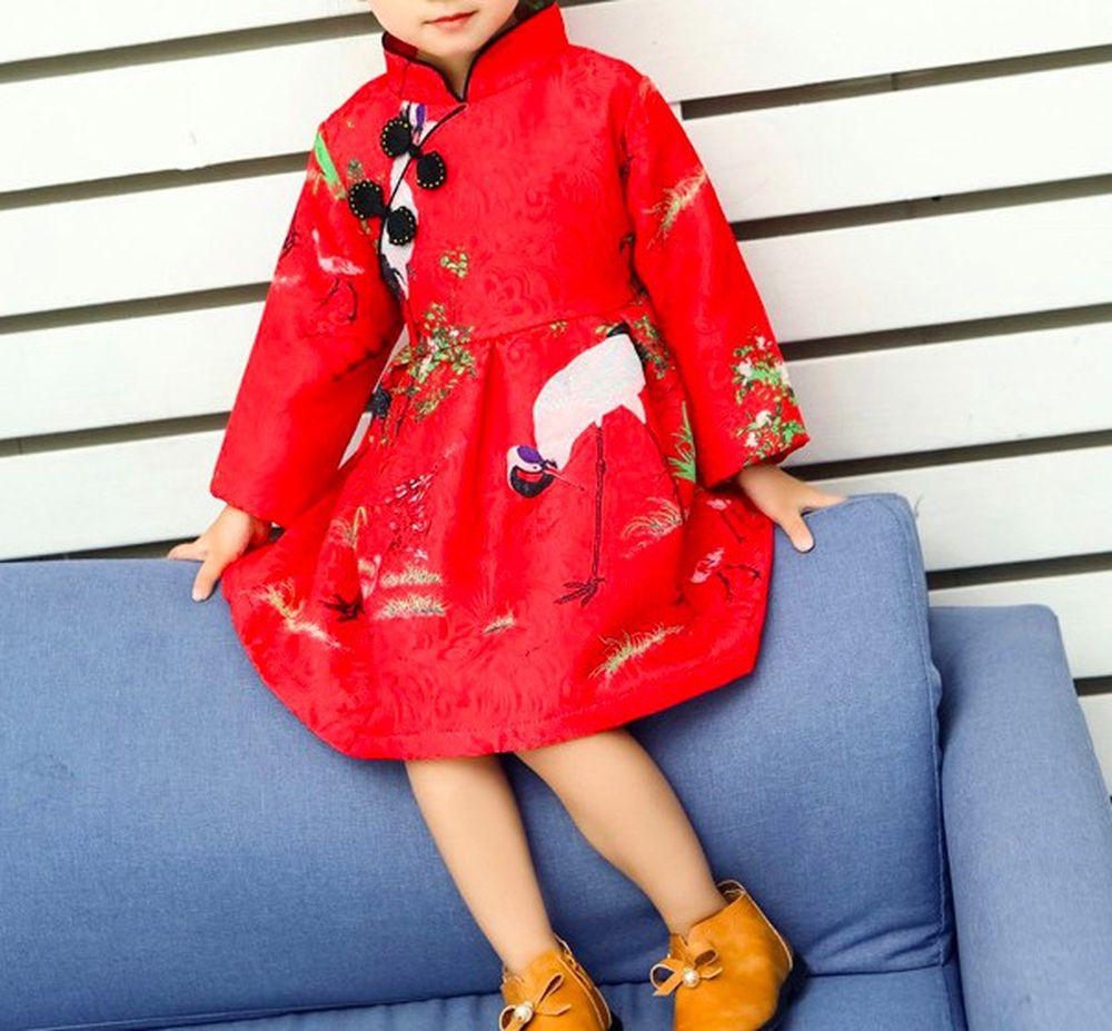 新年 - 紅鶴旗袍洋裝-紅色 (120cm)