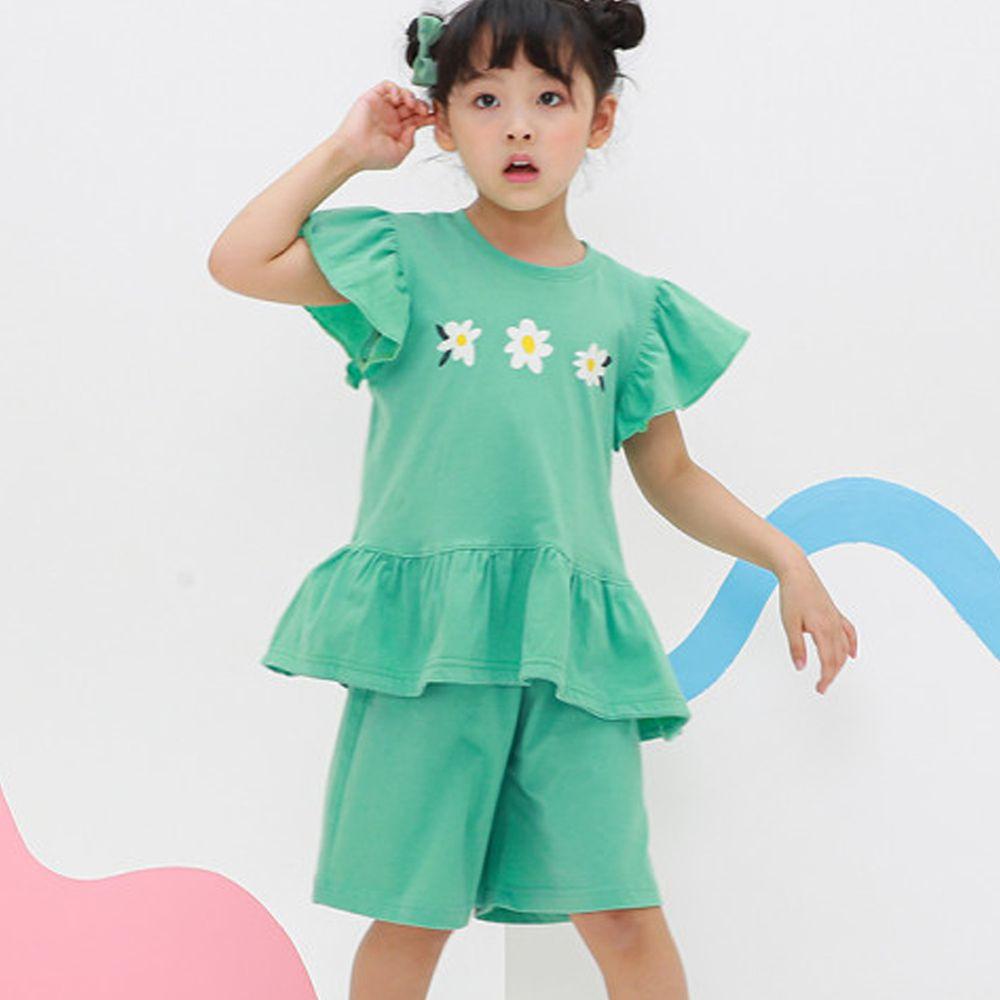 韓國 Ppippilong - 無螢光棉舒適寬版套裝-三朵小雛菊