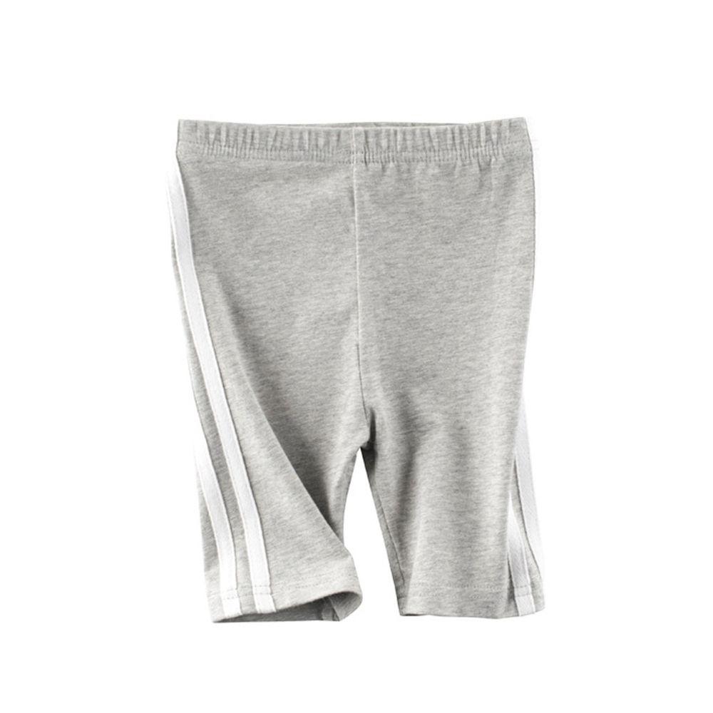 棉質五分褲-側邊條-灰色
