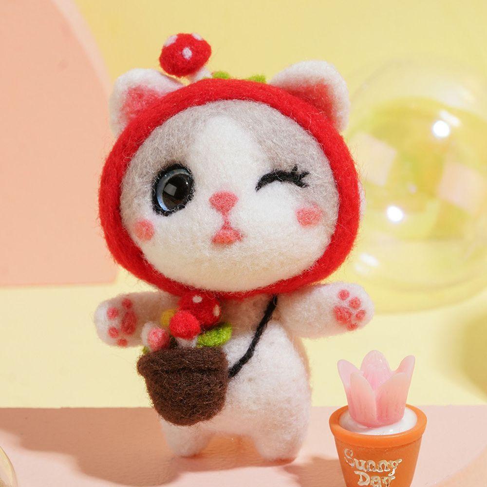 Diy療癒貓咪羊毛氈戳戳樂材料包-蘑菇貓咪