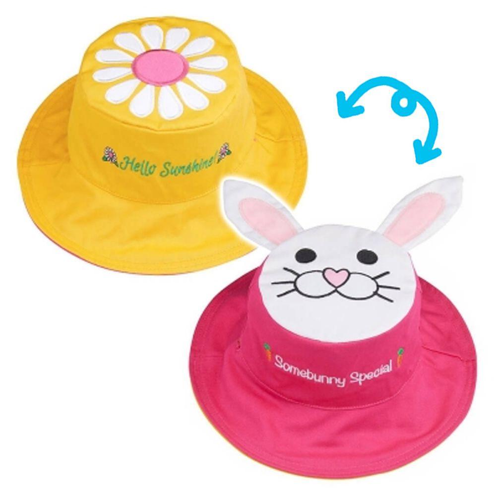 加拿大 flapjackkids - 雙面遮陽帽-兔子/小雛菊