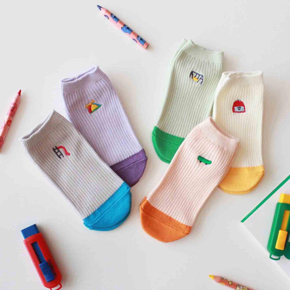 韓國 Kokacharm - 韓國製船型襪-五件組-Play time