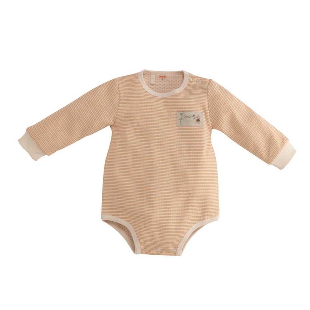日本 Combi - 長袖肩開連身衣-經典條紋系列-粉橘