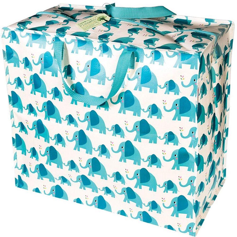 英國 Rex London - 衣物/棉被超大多功能防水環保收納袋/萬用袋-藍色大象