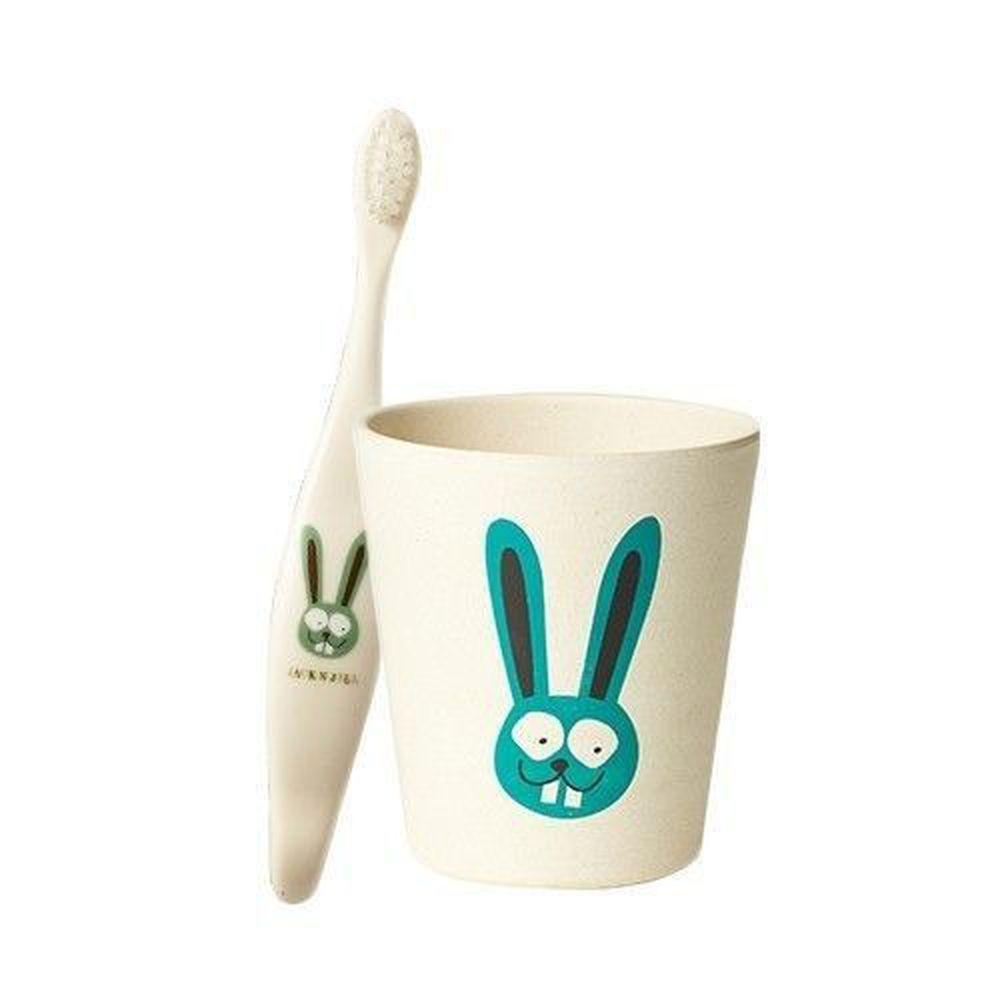 澳洲 Jack N' Jill - 兔子刷牙組-植物牙刷x1+漱口杯x1