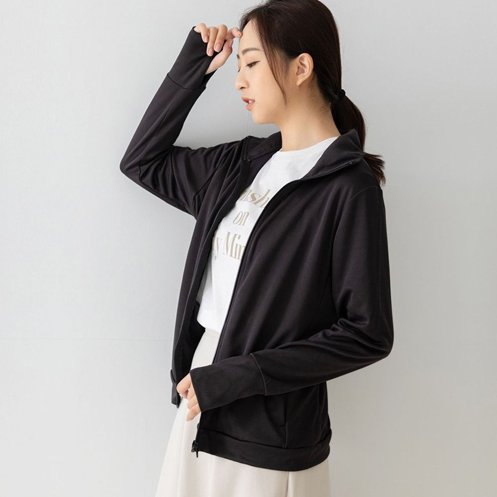貝柔 Peilou - UPF50+高透氣防曬顯瘦外套-女立領-黑色