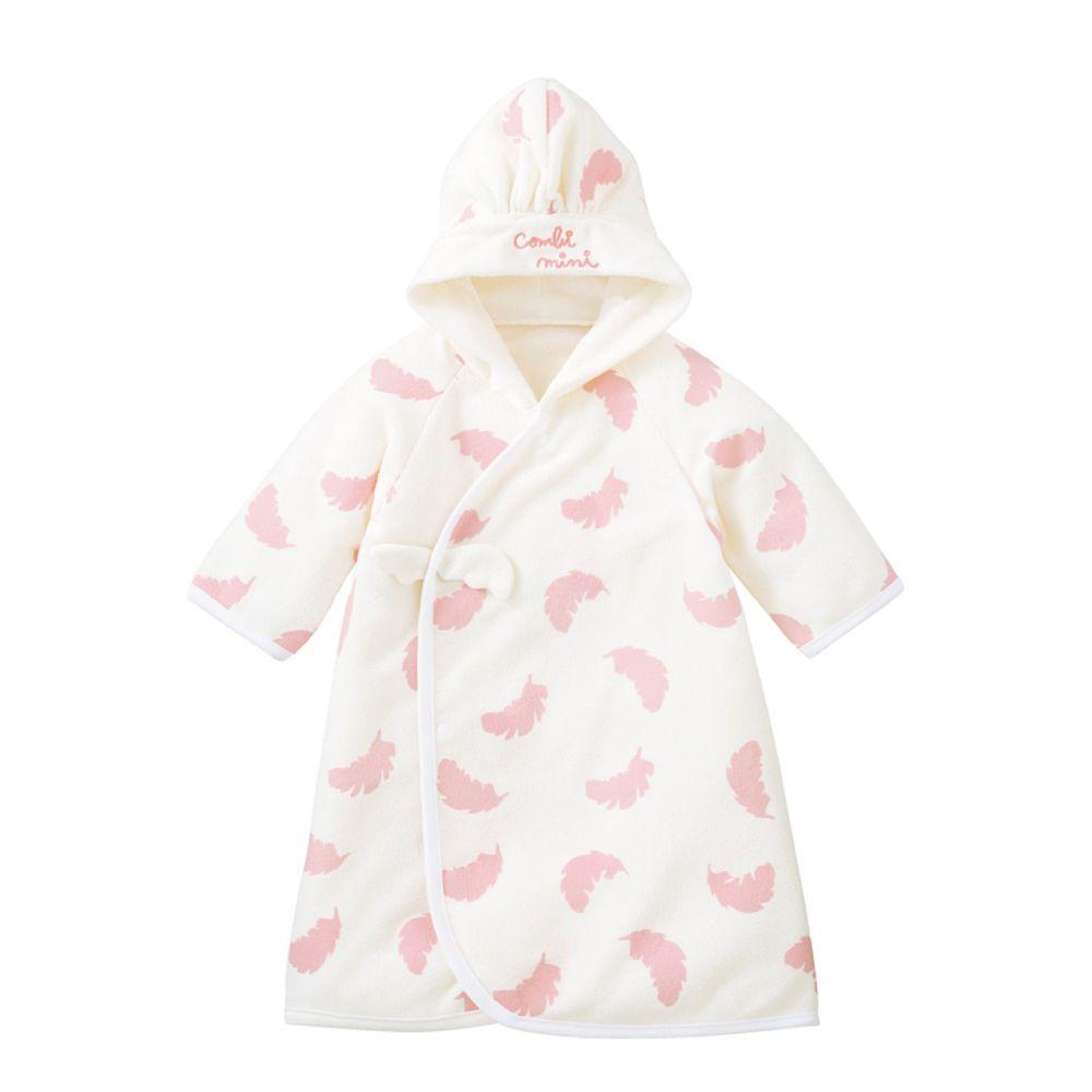 日本 Combi - mini系列-多功能防靜電保暖睡袍-粉葉 (50-80)