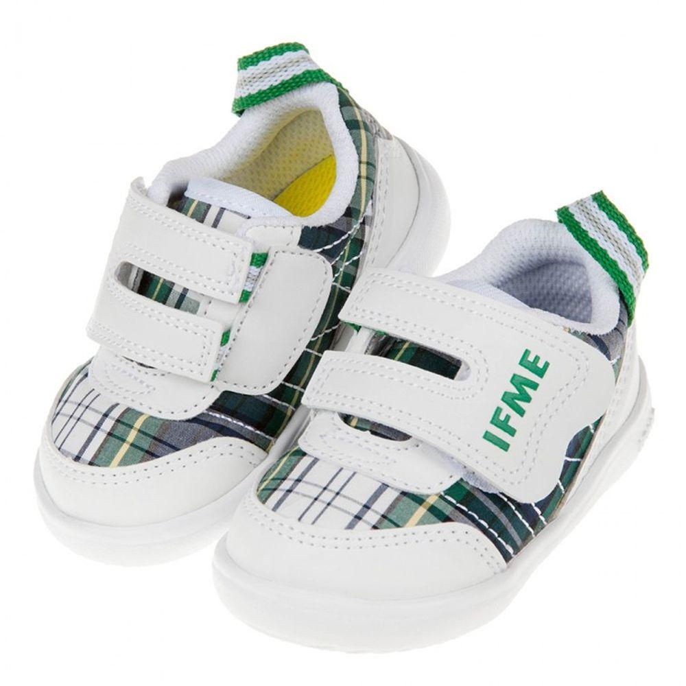 IFME - 日本IFME格紋綠白超輕量寶寶機能學步鞋
