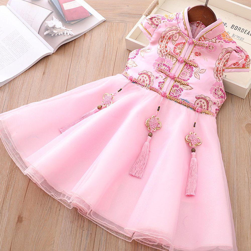 三生三世旗袍紗裙-粉色