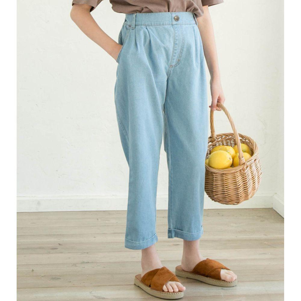 日本 PAIRMANON - 純棉輕薄帥氣打褶哈倫長褲-水藍