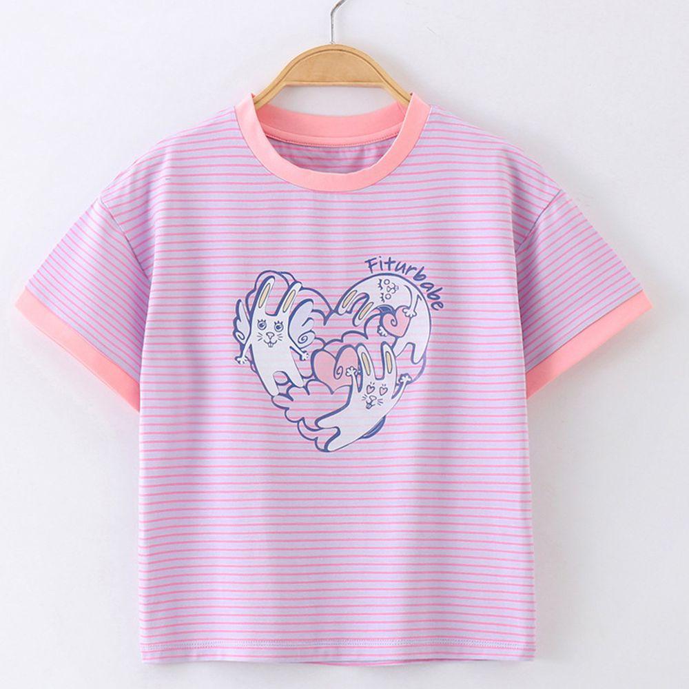 FitUrBabe - 彈力棉質短袖上衣-條紋小兔-粉色