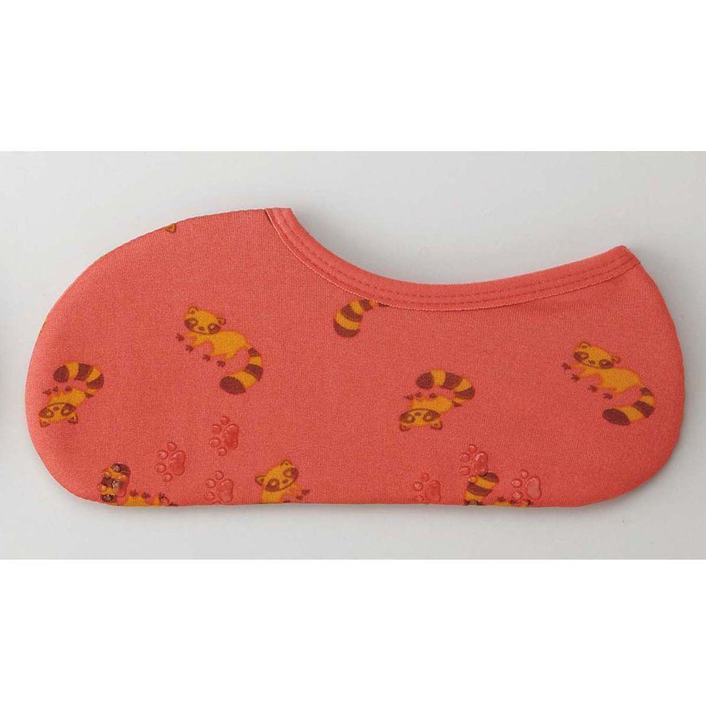 日本丸和 - 雙層機能裏起毛防滑室內襪-小浣熊-粉 (21-25cm)-船型
