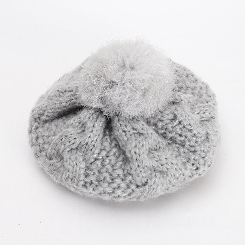 針織毛球貝雷帽-灰色 (52CM(2-5Y))