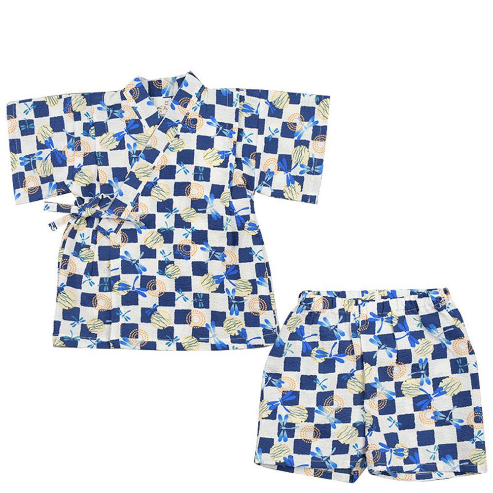 akachan honpo - 幼童兩件式甚平-方格 蜻蜓-深藍色