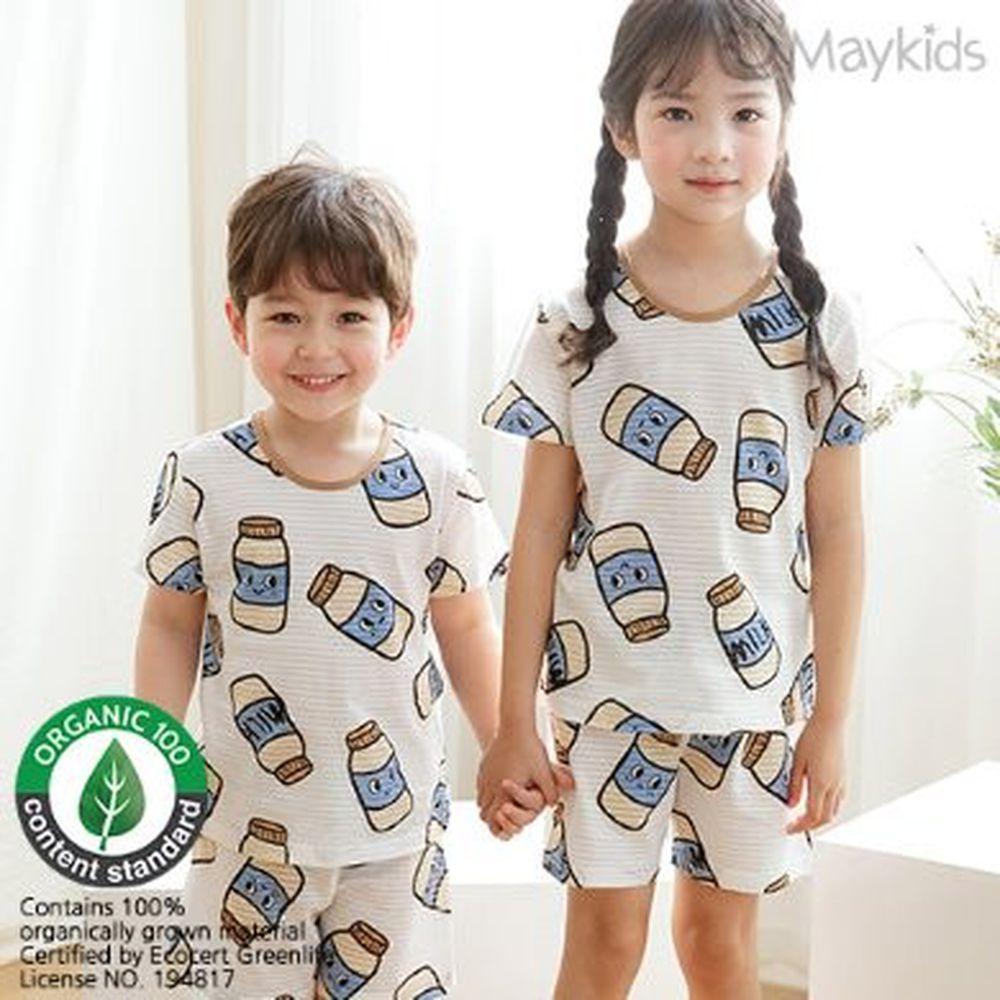 韓國 Maykids - (剩110)有機棉透氣輕薄短袖家居服-咖啡牛奶