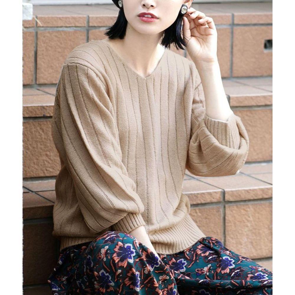 日本 zootie - 顯瘦V領粗羅紋薄針織上衣-杏