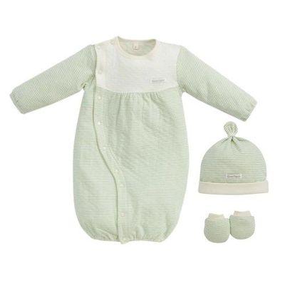 經典條紋系列-有機棉新生兒禮盒-秋冬款-粉綠-兩用妙妙裝x1+幼兒帽x1+x手套x1