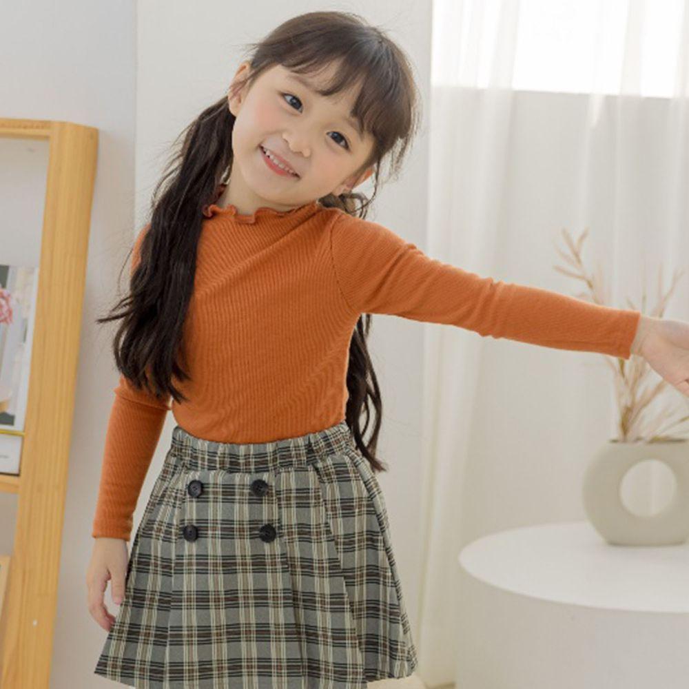 韓國 Orange Mom - 卷卷領針織上衣-橘