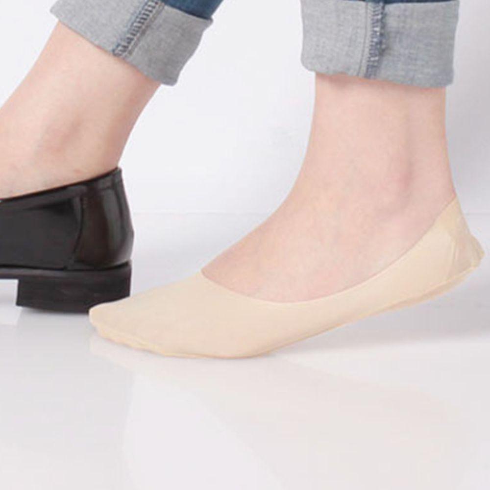 日本 okamoto - 超強專利防滑ㄈ型隱形襪-深履款-米-足底棉混